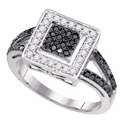Round Black Color Enhanced Diamond Square Cluster Ring 1/2 Cttw 10kt White Gold