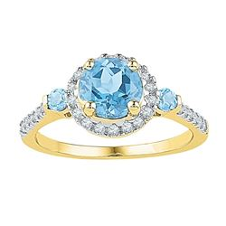 Round Lab-Created Blue Topaz Solitaire Diamond Ring 1/5 Cttw 10kt Yellow Gold