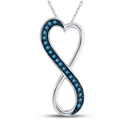Round Blue Color Enhanced Diamond Heart Infinity Pendant 1/10 Cttw 10kt White Gold