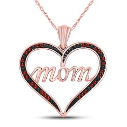 Red Color Enhanced Diamond Mom Heart Mother's Day Pendant 1/12 Cttw 10k Rose Gold