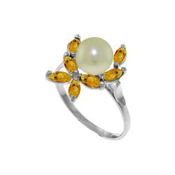 Genuine 2.65 ctw Pearl & Citrine Ring 14KT White Gold - REF-28W5Y