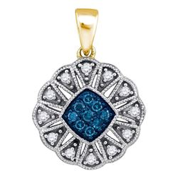 Round Blue Color Enhanced Diamond Fashion Pendant 1/5 Cttw 10kt Yellow Gold