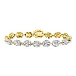 Mens Diamond Gucci Link Fashion Bracelet 6.00 Cttw 10kt Yellow Gold