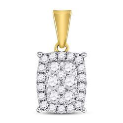 Diamond Rectangular Cluster Pendant 1/2 Cttw 14kt Yellow Gold
