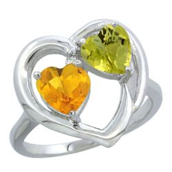 2.61 CTW Diamond, Citrine & Lemon Quartz Ring 14K White Gold - REF-33R5H