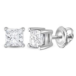 Unisex Diamond Solitaire Stud Earrings 3/4 Cttw 14kt White Gold