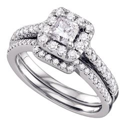 Diamond Halo Bridal Wedding Engagement Ring Band Set 1.00 Cttw 14kt White Gold