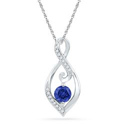 Round Lab-Created Blue Sapphire Solitaire Diamond Pendant 1/10 Cttw 10kt White Gold