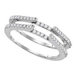 Diamond Ring Guard Wrap Solitaire Enhancer 1/2 Cttw 14kt White Gold