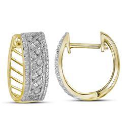 Round Channel-set Diamond Hoop Earrings 5/8 Cttw 10kt Yellow Gold