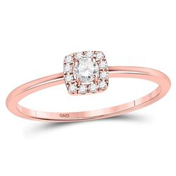 Diamond Solitaire Stackable Band Ring 1/5 Cttw 10kt Rose Gold