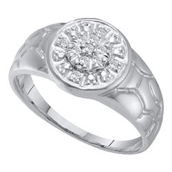 Mens Diamond Cluster Nugget Ring 1/8 Cttw 14kt White Gold