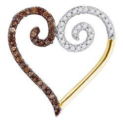 Round Brown Diamond Heart Pendant 1/4 Cttw 10kt Yellow Gold
