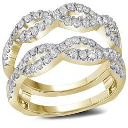 Diamond Wrap Ring Guard Enhancer Wedding Band 3/4 Cttw 14kt Yellow Gold