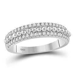 Diamond Beaded Symmetrical Band Ring 1/3 Cttw 14kt White Gold