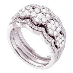 Diamond 3-Piece Bridal Wedding Engagement Ring Band Set 1-1/2 Cttw 14kt White Gold