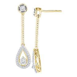 Diamond Teardrop Screwback Dangle Earrings 1/4 Cttw 10kt Yellow Gold