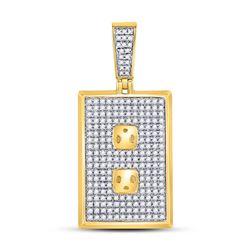 Mens Diamond Power Outlet Plug Charm Pendant 5/8 Cttw 10kt Yellow Gold