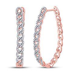 Diamond Oval Link Oblong Hoop Earrings 1/2 Cttw 10kt Rose Gold