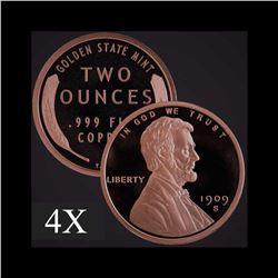 2 oz Lincoln Wheat Cent .999 Fine Copper Bullion Round