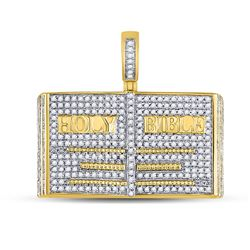 Mens Diamond Holy Bible Charm Pendant 1.00 Cttw 10kt Yellow Gold