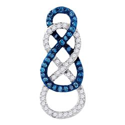 Round Blue Color Enhanced Diamond Linked Infinity Pendant 1/4 Cttw 10kt Yellow Gold
