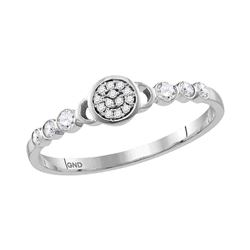 Diamond Cluster Stackable Band Ring 1/6 Cttw 10kt White Gold
