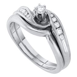 Diamond Bridal Wedding Engagement Ring Band Set 1/4 Cttw 10kt White Gold