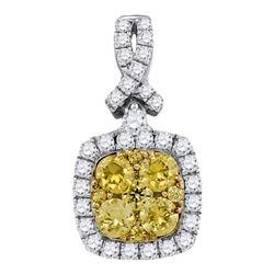 Round Yellow Diamond Cluster Square Frame Pendant 1.00 Cttw 14kt White Gold