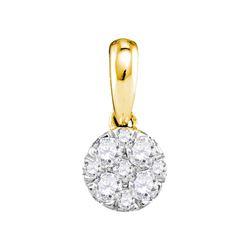 Diamond Circle Cluster Pendant 1/4 Cttw 14kt Yellow Gold