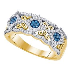 Round Blue Color Enhanced Diamond Cluster Filigree Band 3/8 Cttw 10kt Yellow Gold