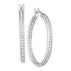 Diamond Inside Outside Hoop Earrings 1.00 Cttw 14kt White Gold