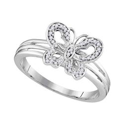 Diamond Butterfly Bug Ring 1/8 Cttw 10kt Two-tone Gold