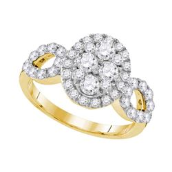 Diamond Oval Frame Cluster Ring 1-3/4 Cttw 10kt Yellow Gold