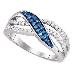 Round Blue Color Enhanced Diamond Band Ring 1/3 Cttw 10kt White Gold
