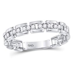 Diamond Rolo Link Stackable Band Ring 1/5 Cttw 10kt White Gold
