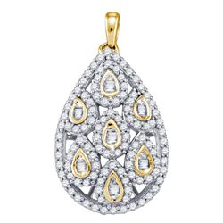 Diamond Teardrop Cluster Pendant 7/8 Cttw 10kt Yellow Gold