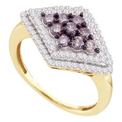 Round Brown Diamond Diagonal Cluster Ring 3/4 Cttw 10kt Yellow Gold