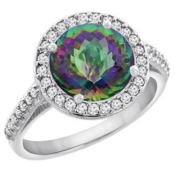 2.44 CTW Mystic Topaz & Diamond Ring 14K White Gold - REF-56Y2V