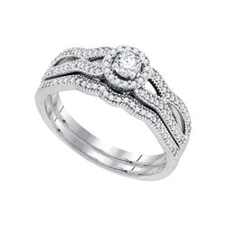 Diamond Bridal Wedding Engagement Ring Band Set 3/8 Cttw 10kt White Gold