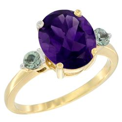 2.64 CTW Amethyst & Green Sapphire Ring 14K Yellow Gold - REF-32R3H