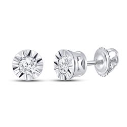 Diamond Solitaire Illusion-set Stud Earrings 1/10 Cttw 10kt White Gold