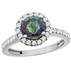 1.38 CTW Mystic Topaz & Diamond Ring 10K White Gold - REF-54N4Y