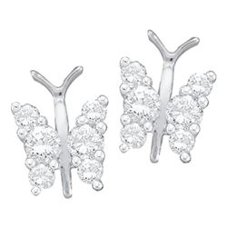Diamond Butterfly Bug Screwback Stud Earrings 1/3 Cttw 14kt White Gold