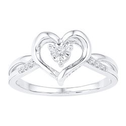 Diamond Solitaire Heart Ring 1/20 Cttw 10kt White Gold