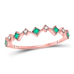 Round Emerald Diamond Square Stackable Band Ring 1/5 Cttw 10kt Rose Gold