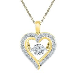 Round Moving Twinkle Diamond Heart Outline Pendant 1/4 Cttw 10kt Yellow Gold