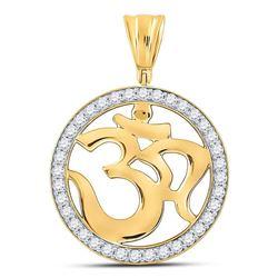 Mens Diamond Om Circle Hindu Atman Charm Pendant 1.00 Cttw 10kt Yellow Gold