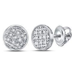 Mens Diamond Circle Cluster Stud Earrings 1/20 Cttw 10kt White Gold