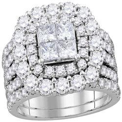Diamond Cluster Halo Bridal Wedding Engagement Ring Band Set 4-1/2 Cttw 14kt White Gold